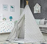 Large Cotton Blend Canvas Chevron Teepee Tent for Kids Teepee Tent Indoor Outdoor   Play Tent 7 Feet Tall - 5 Poles   Customizable Cotton Tent   Childrens Teepee Tents for Girls and Boys Kids Tipi