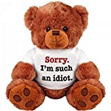 'SORRY I'M SUCH AN IDIOT' 13' Inch Teddy Bear - Cute And Cuddly : Funny Teddy Bear Couple Gift : Romantic Cute Teddy Bear Stuffed Animal