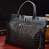 Bolsa de tejido de mensajero de maletín de cuero/bolsa de oficina de la oficina del hombro del maletín de 15 pulgadas,Black