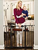 Regalo Home Accents Extra Wide Walk Thru Baby Gate, Includes Décor Hardwood, 4-Inch Extension Kit, 4-Inch Extension Kit, 4 Pack of Pressure Mount Kit and 4 Pack of Wall Cups and Mounting Kit