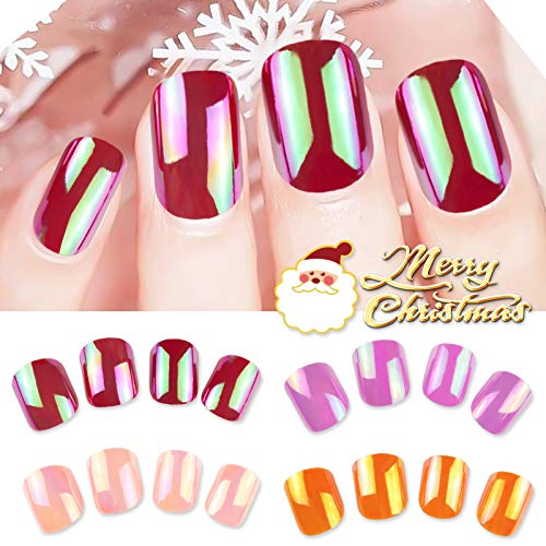96 PCS Christmas Fake Nails Short Square Full Cover Mirror False Nail Art Red Purple Orange Pink Colorful Gel Nail Tips Sets Manicure Decoration for Women Teens Girls- 4 Packs