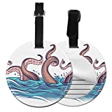 Waterproof Luggage Tag Cartoon Sea Ocean Octopus Character Fun Luggage Tag Cute Luggage Tags For Girls with Adjustable Black Strap For Bags & Baggage with Privacy Protection For Women Men