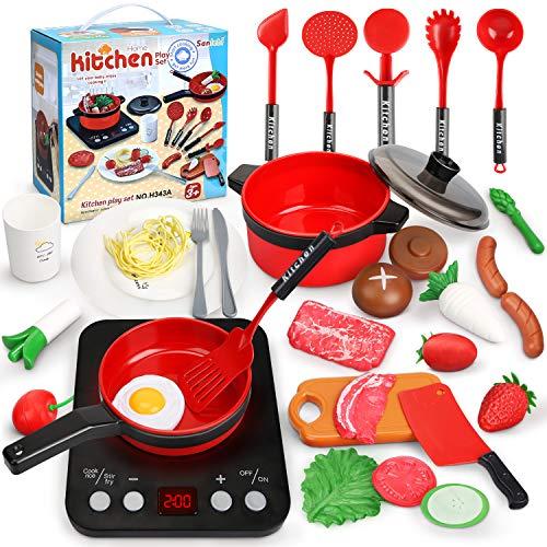 Sanlebi Set Cucina Bambini, Set di Pentole Finto Set da Cucina con Fornello a Iinduzione, Utensili da Cucina, Verdura, Accessori Cucina Giochi di Ruolo Giochi per Bambini di 3 Anni