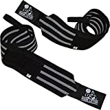 Nordic Lifting Wrist Wraps Super Heavy Duty (1 Pair/2 Wraps) 24' Support for Weight Lifting | Powerlifting | Gym | Cross Training -Weightlifting Thumb Loop - Men & Women Black/Grey,1 Year Warranty