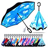 Owen Kyne Windproof Double Layer Folding Inverted Umbrella, Self Stand Upside-Down Rain Protection Car Reverse Umbrellas with C-Shaped Handle (Sky Blue)