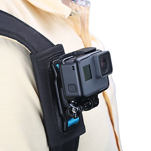 TELESIN - Supporto da spalla compatibile per fotocamera, spalliera regolabile e supporto per cinghia per GoPro Hero 9/Fusion/Session, Polaroid, Xiaomiyi, SJCAM, Osmo Action (supporto per zaino)