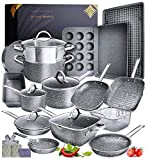 Granite Cookware Sets Nonstick Pots and Pans Set Nonstick - 23pc Kitchen Cookware Sets Induction Cookware Induction Pots and Pans for Cooking Pan Set Granite Cookware Set Non Sticking Pan Set