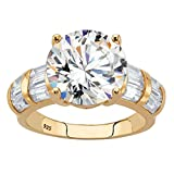 18K Yellow Gold over Sterling Silver Round and Baguette Cubic Zirconia Engagement Ring Size 10
