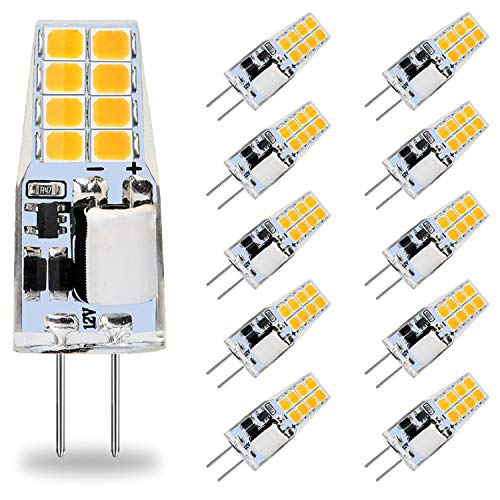 AGOTD G4 LED Lampen, 3W LED Birnen Ersetzt 30W Halogenlampen, 3000K Warmweiß 250lm 12V AC/DC Nicht Dimmbar LED Leuchtmittel, G4 LED Birne Stiftsockellampe Glühbirnen, 10er Pack