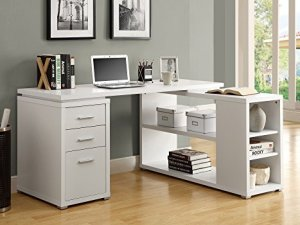 Monarch Specialties Hollow-Core Left or Right Facing Corner Desk, White