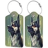 Wolfdog - Juego de etiquetas de piel para maleta, accesorios de viaje, etiquetas para equipaje