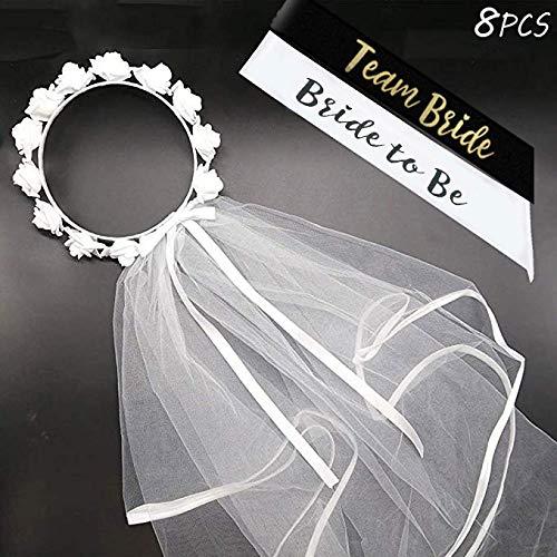 DmHirmg Bride to Be Flower Velo de Novia y Letras de Oro Bride to Be Sash para Despedida de Soltera Despedida de Soltera por ACXOPT