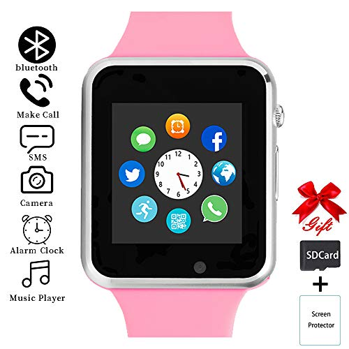 Smart Watch,Unlocked Smartwatch Compatible with Bluetooth/Android/iOS (Partial Functions) Touchscreen Call Text Camera Music Player Notification Sync Smart Watches for Women Men Kids (Lightpink)