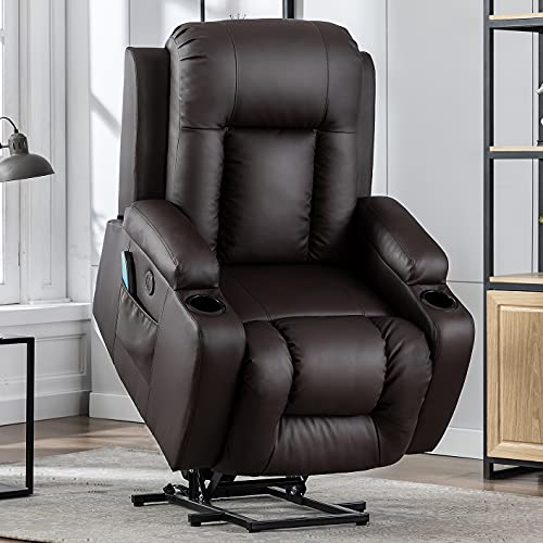 Vicluke Oversized Power Lift Recliner Chair with Massage and Heat for Elderly, Leather Electric Recliner Lift Chair with 2 Side Pockets, Cup Holders and USB Port for Living Room (Brown)
