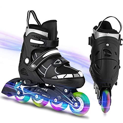 WeSkate inliner Kinder/Herrn/Damen größenverstellbare Inline Skates für Jungen/Mädchen Roller Skates Größe 31-42 Rollschuhe mit LED Rädern