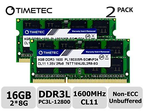 Timetec Hynix IC 16GB Kit (2x8GB) DDR3L 1600MHz PC3-12800 Unbuffered Non-ECC 1.35V CL11 2Rx8 Dual Rank 204 Pin SODIMM Ordinateur Portable Mémoire RAM Module Upgrade (16GB Kit (2x8GB))