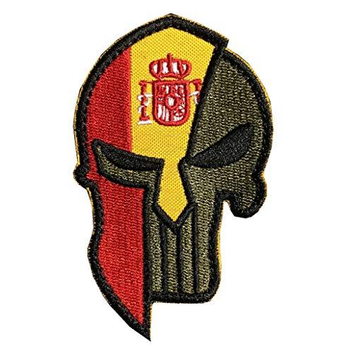 Ohrong Bandera nacional de España Punisher Molon Labe Parche bordado para la moral espartana táctica moral parche insignia del brazalete, con gancho y bucle