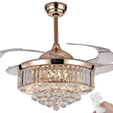 Crystal Fan Chandelier, Telescopic Invisible Modern Ceiling Fan with Light,3 Color LED Chandelier with Remote Control (Rose gold)