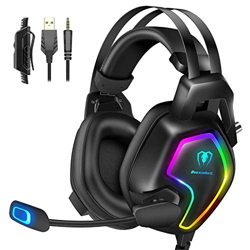 Gaming Headset für PS4 PS5 PC Xbox One mit RGB Licht Mikrofon Geräuschunterdrückung Stereo Surround Sound, für Nintendo Switch Laptop Mac Handy Tablet