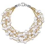 THE PEARL SOURCE 4-5mm Genuine White Freshwater Cultured Pearl Mila Bracelet for Women