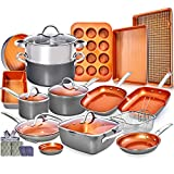 Copper Pots and Pans Set -23pc Copper Cookware Set Copper Pan Set Ceramic Cookware Set Ceramic Pots and Pans Set Induction Cookware Sets Pot and Pan Set Ceramic Pots and Pans Set Nonstick Cookware Set