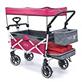 Creative Outdoor Push Pull Collapsible Folding Wagon Stroller Cart for Kids | Titanium Series | Beach Park Garden & Tailgate (Pink)