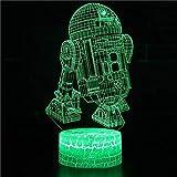Robot Usb crack base 3d multicolor LED luz nocturna decoración de la habitación de los niños