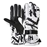 Durio Ski Gloves Men Women Waterproof Snow Gloves for Men Women Winter Snowboard Gloves Touchscreen Snowmobile Gloves White Large