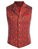 SCARLET DARKNESS Hommes Gilet Costume sans Manches Vintage Classique Paisley Floral Jacquard Gilet de Poche Mariage Business Veste