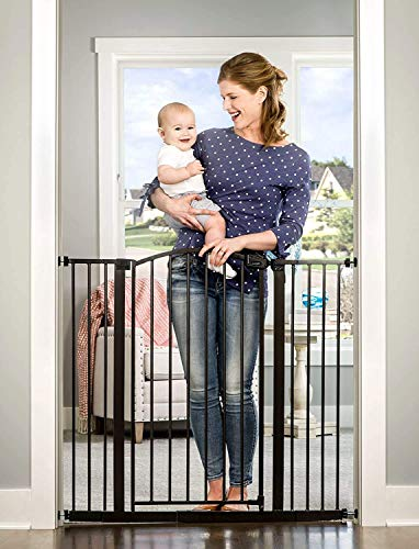 Regalo Easy Step Extra Tall Arched Dcor Walk Thru Baby Gate, Includes 4-Inch Extension Kit, 4 Pack Pressure Mount Kit and 4 Pack Wall Mount Kit, Bronze