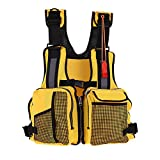 Fishing Life Vest, Kayak Life Jackets Kayaking Watersports Fishing Life Jacket with Multi-Pockets Whistle and Reflective Stripe (Color:Yellow)