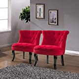 Red Upholstered Chair (Set of 2) / Jane Tufted Armless Accent Chair with Black Birch Wood Legs for Small Space- Red