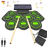 Electronic Drum Set - KONIX Bluetooth Electric Midi Drum Set Kit for Kids Beginner Portable Roll Up Drum Practice Pads - Musical Instruments With Built-In Speaker,Drum Pedals Drum Sticks
