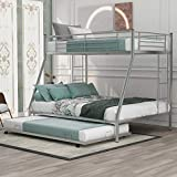 Merax Metal Bunk Bed with Trundle, Twin Over Full Bunk Bed with Safety Guard Rails for Kids Teens Adults No Box Spring Required, Silver