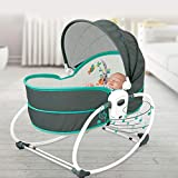 Innotic 5 in 1 Baby Cradle Portable Baby Swing Bassinet for Newborns, Jumpers and Bouncers Baby Chair for Infants, Travel Bassinets for Babies, Baby Bed Toddler Swing Rocking Chair for Nursery.(Green)