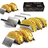 Taco Holder Stands Stainless Steel, Taco Shell Holder Set of 4, Oven, Taco Tray, Grill, and Dishwasher Safe