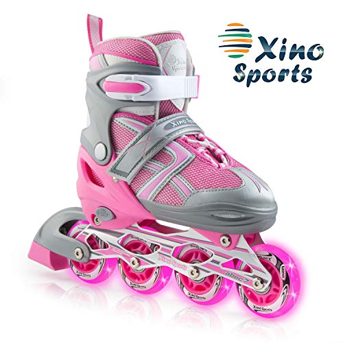 XinoSports Adjustable Kids Inline Skates for Girls & Boys with Light Up Wheels (Ages 5-20) – Roller Skates with Illuminating Wheels