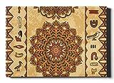 WDDHOME Well Traveled Egypt Adorno Colorido Jeroglíficos egipcios Antiguos Lienzo de Pared 50 × 60.23 Pulgadas Pinturas de Lienzo Combo 2 en 1 cálido y Suave Camping, Viajes en automóvil A