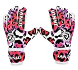 Soccer Goalie Gloves Goalkeeper Gloves with Fingersave , 3.5mm Strong Grip German Latex, Double Rip-Tab Strap, Keeper Gloves for Kids, Youth(Pink Leopard,7)