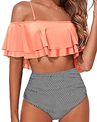 Pink Swimsuits for Women: Tempt Me fashion bikini features with removable padded push up bra, adjustable shoulder straps, ultra stylish and adorable. Ruffle Swimsuit: Flounce off shoulder bikini top with ruffle sleeve accentuates your attractive silh...