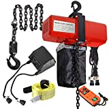 Partsam 1100 lbs 1/2T Wireless Remote Control Lifting Electric Chain Hoist, Single Phase Overhead Crane Ceiling Pulley Winch Hook Mount G80 Chain with Towing Strap Sling, 10ft Lift Height (110V~120V)