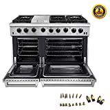 Thor Kitchen 48 inch Freestanding Pro-Style Double Oven Professional Gas Range with 6.8 Cu. Ft. Oven, 6 Burners 1 Griddle, in Stainless Steel - LRG4801U + LP Conversion Kit