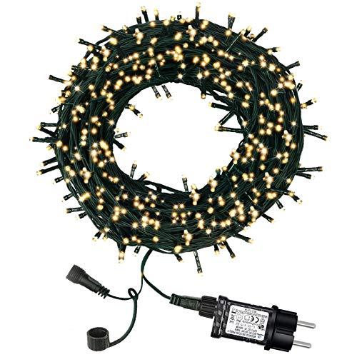 Luci Natale da Esterno, Luci Albero di Natale, 98ft 300 LED 8 Modalit Luci da Stringa, Catena luminosa Interno Decorative per Giardini, Camera, Matrimonio, Balcone (Bianco Caldo)