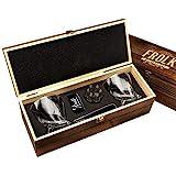 Whiskey Bullet Stones Premium Gift Set By Frolk, Set Of 6 Extra Large Stainless Steel Whiskey Stones, 2 Large Twisted Whiskey Glasses (11 oz), Freezer Base, Velvet Pouch & Tongs In Novelty Wooden Box