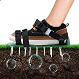 KleeTrend Lawn Aerator Shoes with 26 Metal Buckles and Cross Strape Heel Heavy Duty Spiked Sandals for Aerating Your Garden Yard