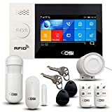 【OSI Wireless WiFi Smart Home Security DIY Alarm System - 8 Piece】 DIY Home Wi-Fi Alarm Kit with Motion Detector,Notifications with app,Door/Window Sensor, Siren,Compatible with Alexa,NO Monthly Fees