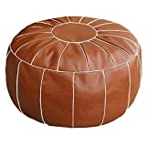 Thgonwid Unstuffed Handmade Moroccan Round Pouf Foot Stool Ottoman Seat Faux Leather Large Storage Bean Bag Floor Chair Foot Rest for Living Room, Bedroom or Wedding Gifts (Brown)