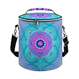 Cooler Bag,Lotus Bloom Turquoise Mandala Insulated Tote Bag Large Cooler Bag for Outdoor Activies Hiking,Camping Boating,Beach,Fishing