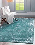 Unique Loom Sofia Collection Traditional Vintage Area Rug, 5' x 8', Turquoise/Ivory