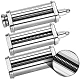 3-Piece Pasta Roller & Cutter Set Attachment for KitchenAid Stand Mixers,Stainless Steel Pasta Maker...